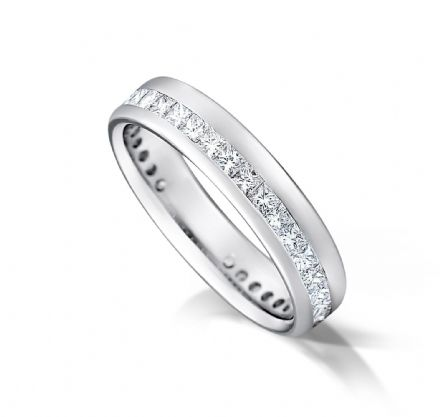 Channel off set eternity/wedding ring, platinum. 4mm x 1.7mm. Full coverage